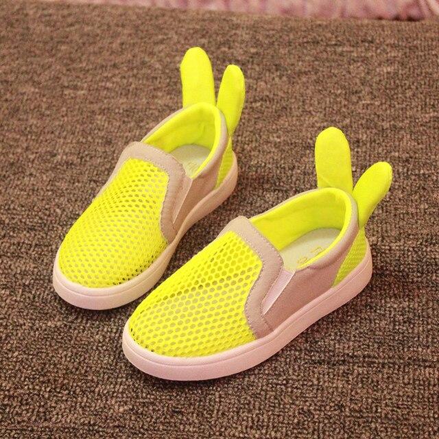 2016 мода детская обувь дышащая мягкая подошва уши кролика для детей обувь для девочек и мальчиков летом стиль chaussure enfant
