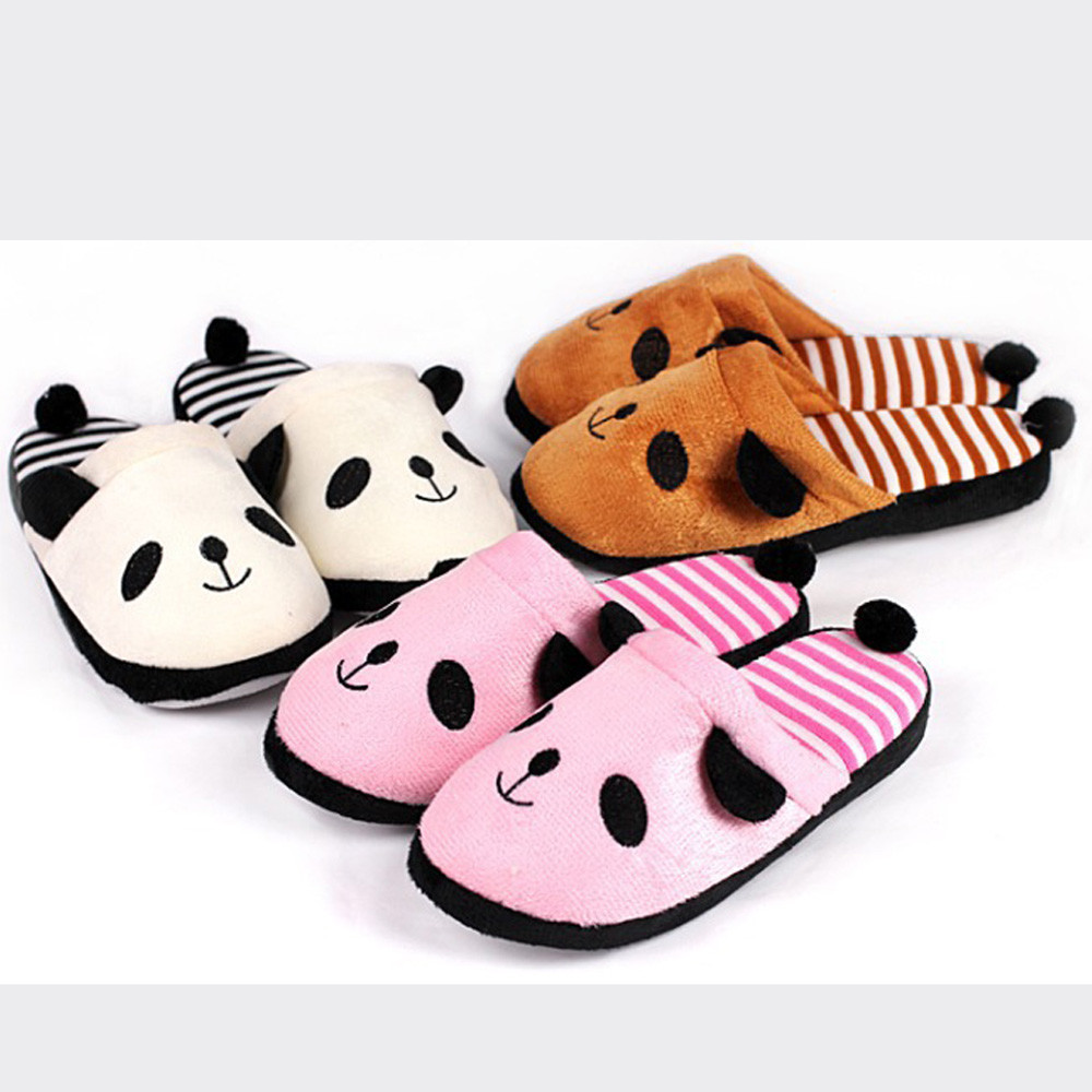 цена на Women Warm Slippers Lovely Cartoon Panda Home Floor Soft Stripe Slippers Winter Spring Female Shoes D#