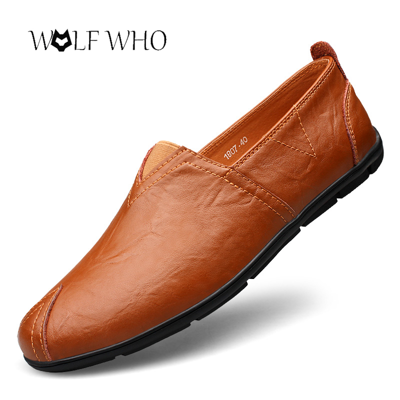 WolfWho Plus Size 37-47 Men Genuine Leather Shoes Handmade Driving Shoes Slip on Men Loafers Walking Durable Flat Shoes With Fur pl us size 38 47 handmade genuine leather mens shoes casual men loafers fashion breathable driving shoes slip on moccasins