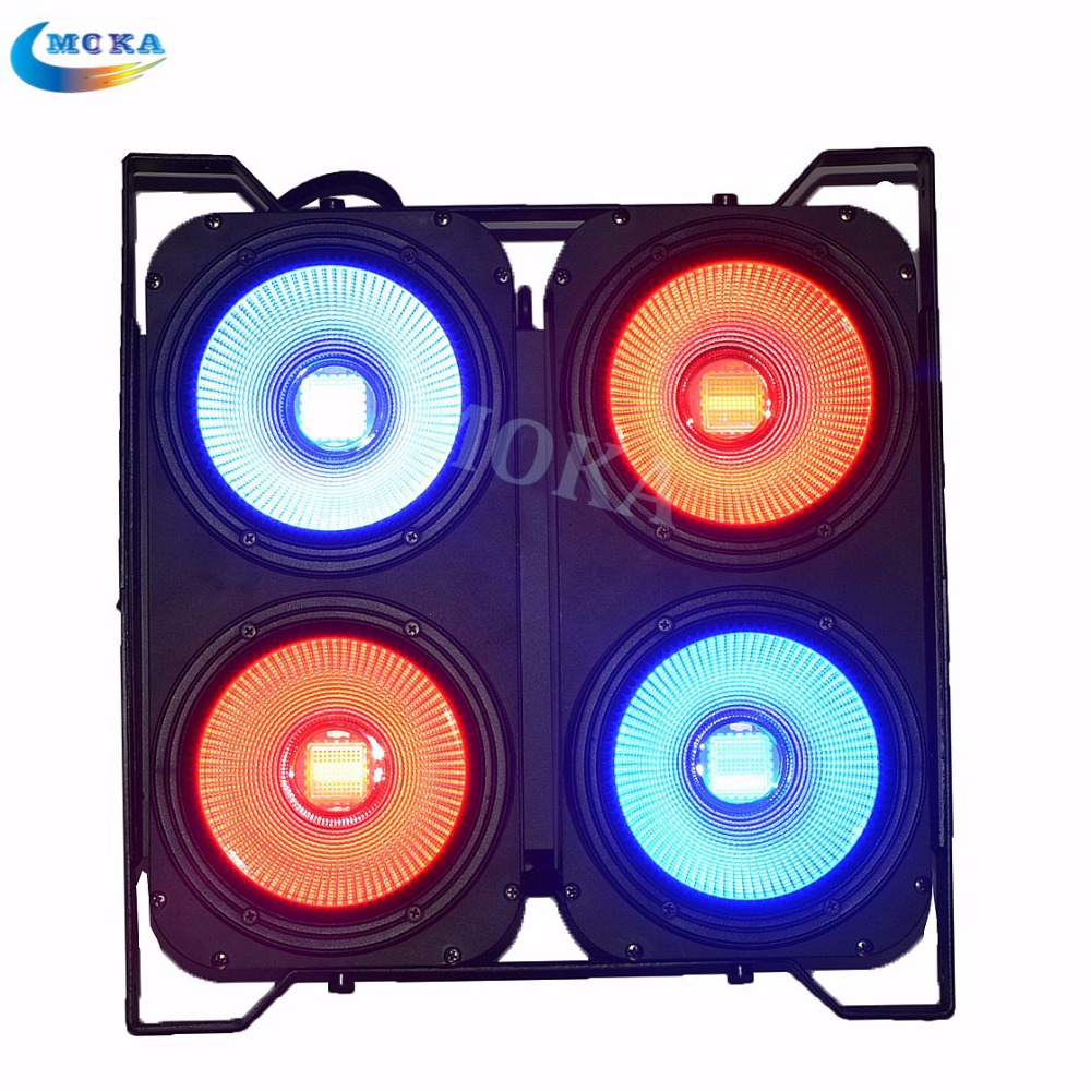 2 pcs/lot RGB 3IN1 COB LED Flood Light 4eye 100w Led Matrix Blinder Light Led Wash Audience Lights for Concert Music Big Event splicing 2 light led blinders with 100w led cob x2 amber cold white color for audience blinding color warm