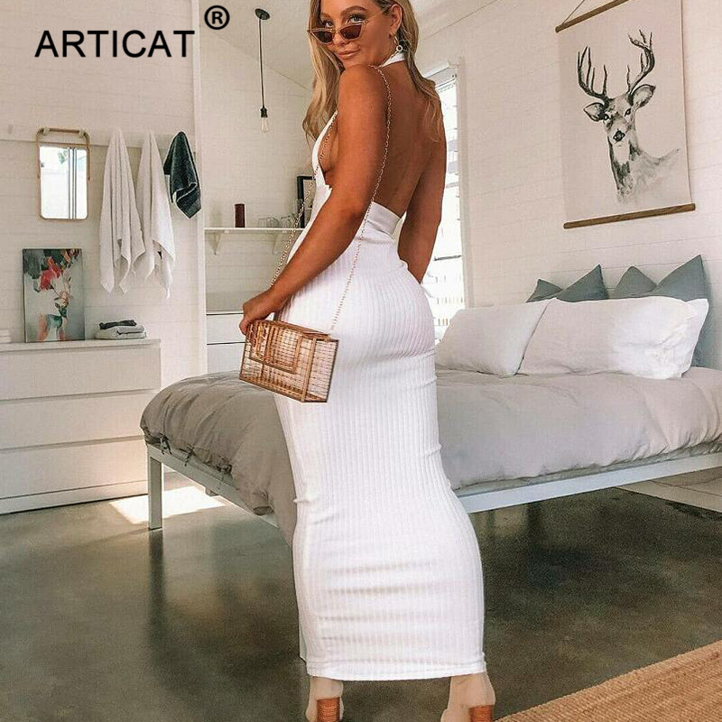 Articat Halter Backless Sexy Knitted Pencil Dress Women White Off Shoulder Long Bodycon Party Dress Elegant Summer Dress 19 8