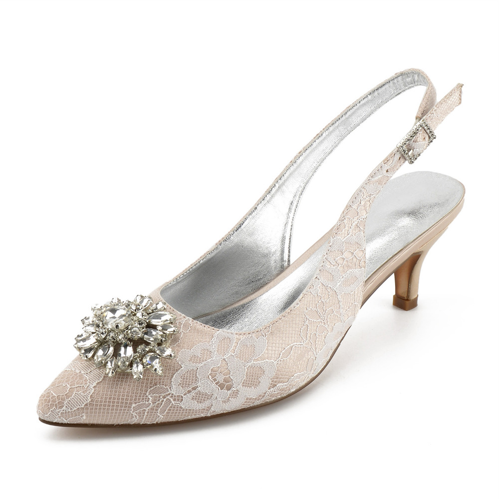 Creativesugar pointed toe sling slingback lace evening dress shoes crystal brooch bridal wedding prom low heels prom cocktail  Creativesugar pointed toe sling slingback lace evening dress shoes crystal brooch bridal wedding prom low heels prom cocktail