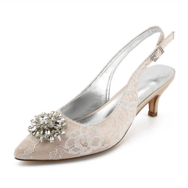 Creativesugar pointed toe sling slingback lace evening dress shoes crystal  brooch bridal wedding prom low heels prom cocktail ba131d9a520d