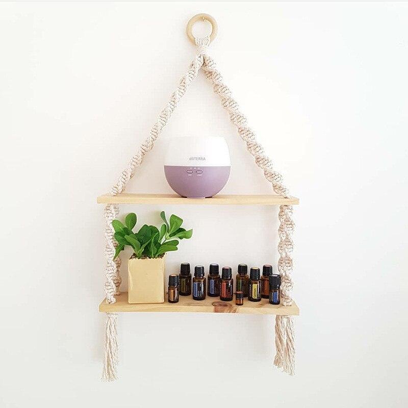 Nordic Nursery Decor Wooden Wall Shelf With Pearl Yarn