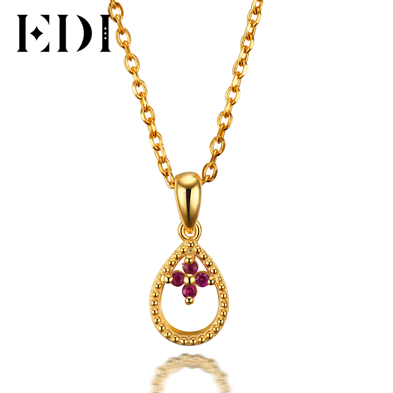 все цены на EDI Woman 14K Yellow Chain Necklace Natural Ruby Water Drop Pendants Necklaces For Womens Wedding Anniversary Fine Jewelry онлайн