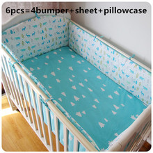 Promotion! 6PCS Cute Animals Baby Bedding set Boys Cot Set Embroidery (bumpers+sheet+pillow cover)