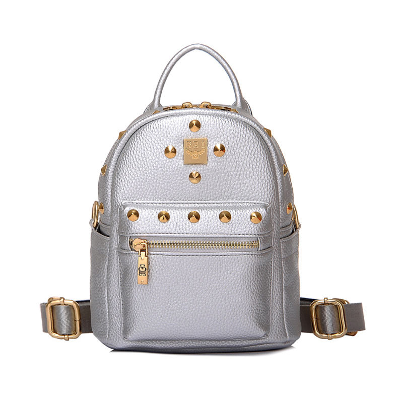 LACATTURA Women's Metal Rivet Mini Small Backpack Multi-function PU Leather Double Shoulder Bag Fashion Casual Rucksack for Girl 2017 small fresh mini shoulder bag with three pairs of ears can replace the small backpack cute modeling trend backpack y088