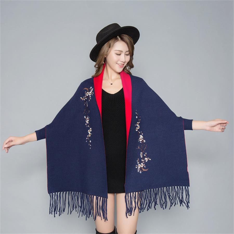 New Arrival Navy Blue/Red Women's Cashmere Reversible Poncho Zizith Embroider Flowers Pashmina With Bat Sleeve Shawl Scarf QM08