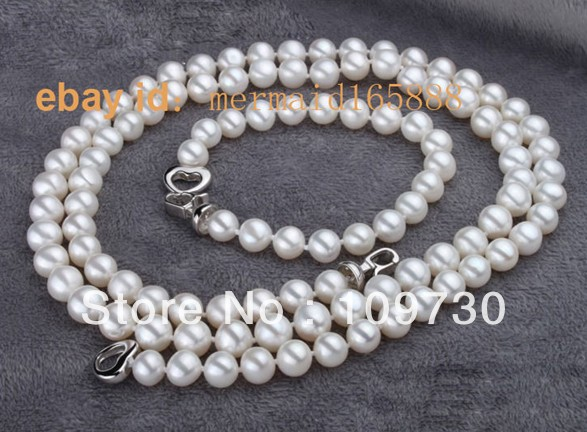 Bijoux 00405 AAA 8-9mm Ensemble Blanc Akoya Perles de Culture Collier/Bracelets (A0516)
