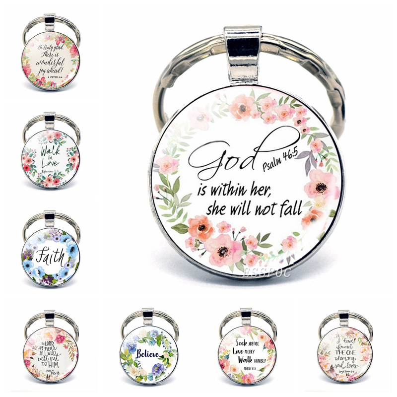 God Is Within Her. She Will Not Fall (psalm 46:5) Bible Quote Faith Keychain Keyring Bible Verse key chain Christian Party Gift image