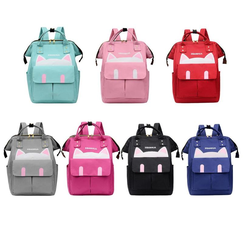 Cute Cat Print Mommy Travel Backpacks Big Nylon Maternity Nappy Diaper Bags