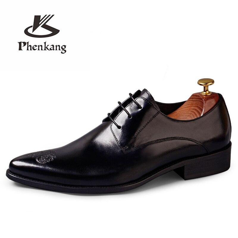 Mens formale scarpe di cuoio scarpe oxford per gli uomini spogliatoio degli uomini di nozze scarpe brogue scarpe ufficio del merletto up di sesso maschile zapatos de hombre-in Scarpe da cerimonia da Scarpe su  Gruppo 2