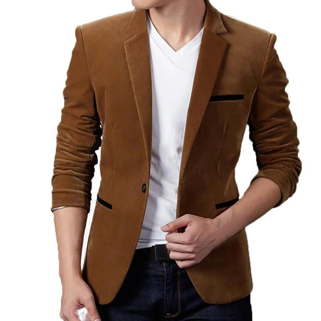 d63ef043cd Men s Autumn Winter Business Casual Corduroy Slim Long Sleeve Notched Coat  Suit Blazer With Pocket