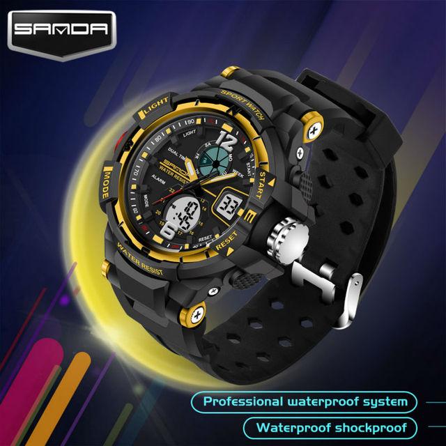 Children's Sports Watches Quartz Digital Wristwatches PU Watchband Waterproof Shock Student Watch Swim LED Digital-Watch SANDA