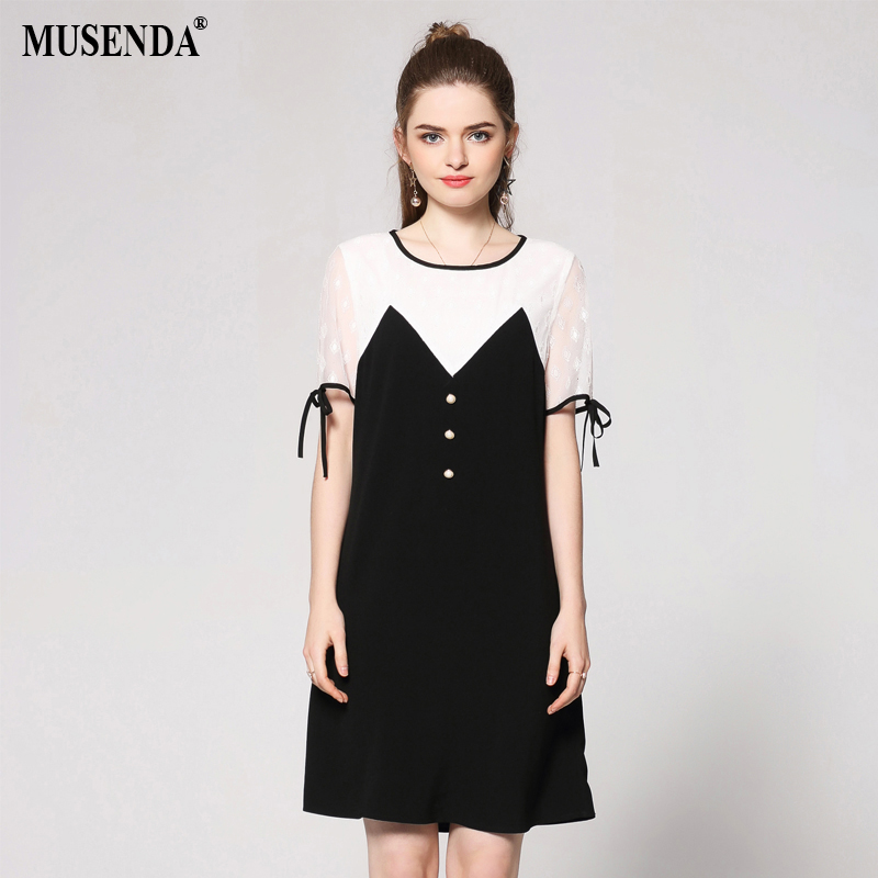 MUSENDA Plus Size Women White Black Patchwork Lace Button Dress 2018 Summer  Sundress Female Dresses Vestido Robe Clothing Suits -in Dresses from Women s  ... a2633d4b53b0