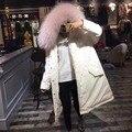 Высокое качество реального большой енот меховой воротник капюшоном пальто длинные duck пуховик женщины зима теплая толстые outerwears