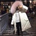 Alta qualidade real raccoon grande gola de pele com capuz longo casaco de pato para baixo mulheres jaqueta de inverno quente outerwears grossas