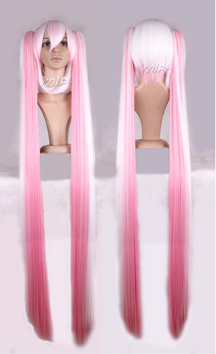 High quality MIKU hair accessories 680g 120cm pink white synthetic hair jewelry for cosp ...