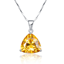 9.35Ct citrine pendant necklace 925 sterling silver chain Geometric Triangle Necklaces&Pendants Jewelry Collar Colar de Plata