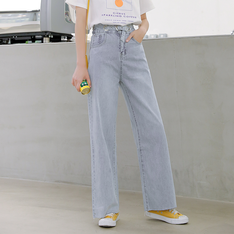 New Jeans High Waist Wide Leg Casual Pants Female Summer Temperament Mopping Jeans Blue Loose Straight Student Jeans Women 2019