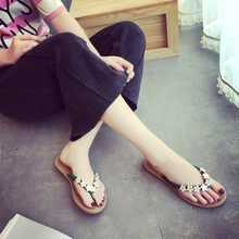 цена на Summer Beach Woman Flip Flops Slides Female Sandals Flower Flat with Women Studs Slippers Casual Shoes