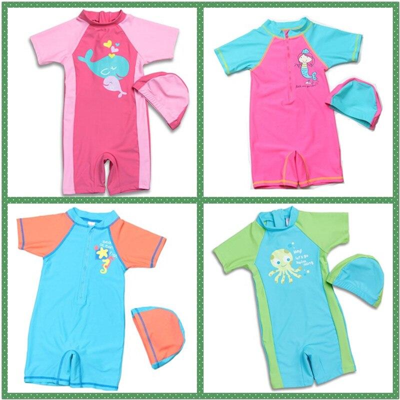 b0c27e6f87f7 Nuevos modelos chico de 1-12 años de edad niñas/niños raso protectores de  una pieza traje de baño niños traje de baño gorra de natación ropa de ...
