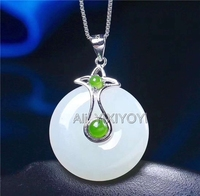 Beautiful 925 Sterling Silver White Green HeTian Jade Round Elegant Lucky Pendant + Chain Necklace Fine Jewelry Charm Gift