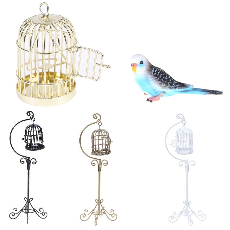 1:12 Dollhouse Miniature Furniture Metal Bird Cage For Dollhouse Decor Dollhouse Birdcage