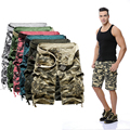 2016 loose casual Camouflage tooling shorts plus size male multi-pocket capris