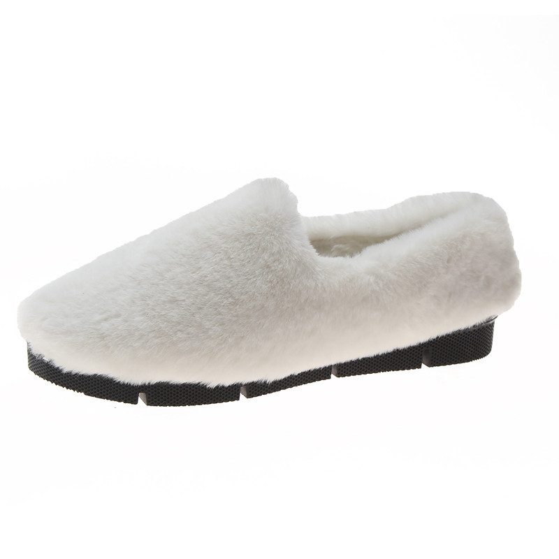 Image 2 - SWYIVY Fur Loafers Ladies Winter Warm Casual Shoe Slip Ons 2019 Ballerinas Shoes For Women Flat Shoes Loafer Women Shoe Flat-in Women's Flats from Shoes