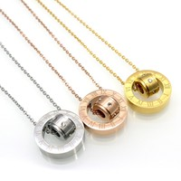 New Fashion Titanium Steel Body Roman Number Chain Necklace Gold Plated Austrian Crystal Necklace Pendant Fine