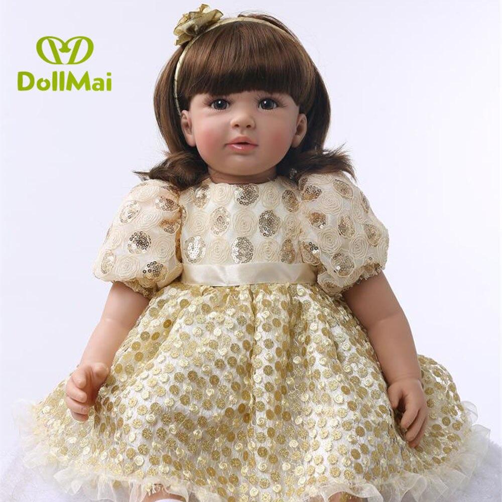 60 cm Silicone Reborn Bébé Poupée Jouets 24 pouces Princesse Toddler bebe lol d'origine poupée à collectionner Brinquedos jouer maison jouets fille