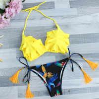 Гофрированная оборка Холтер бикини с цветочным узором наборы Бразилия кисточка купальники ретро купальные костюмы с принтом низкая талия ...