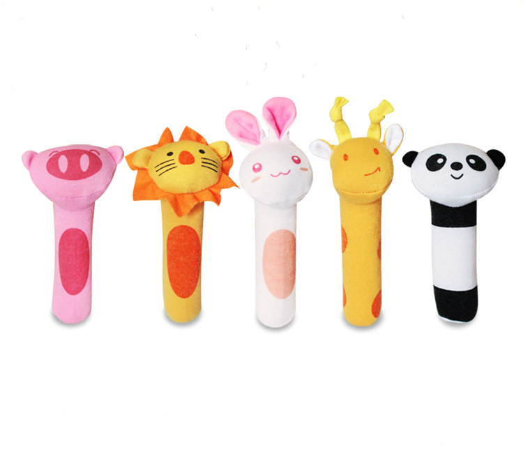 Baby Rattle Mobiles Animal Tiger Rabbit Panda BB Whistle Stick Infant Plush Handbell Toddler Baby Bed Toy Training Toy