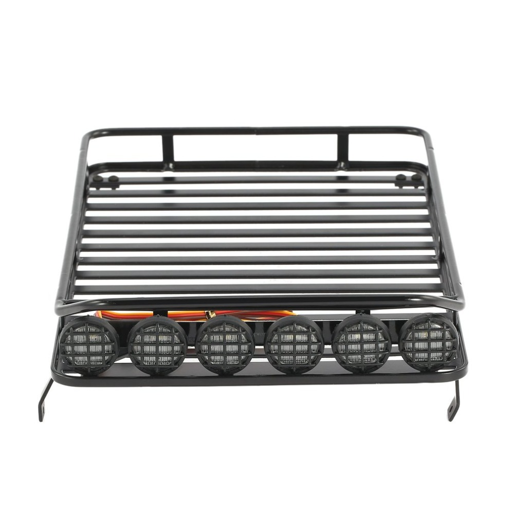 AX-519B Metal Roof Rack Luggage Carrier with 6 LED Lights for RC 1/10 4WD Car Crawler Truck D90 Axial Jeep SCX10 90046