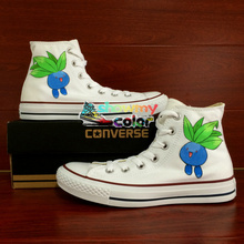 White Canvas Shoes Boys Girls Converse All Star Pokemon Oddish Flower Design Hand Painted Shoes Woman Man Sneakers Birthday Gift