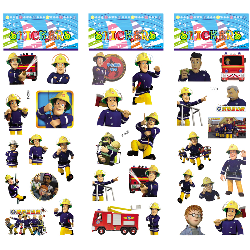 6 Sheets/set Cartoon Fireman Sam Stickers Scrapbooking For Kids Rooms Home Decor Diary Notebook Label Toy 3D Sticker