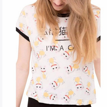 Women cute Cartoon lucky cat priting t shirts letters new design Summer tees cozy crew neck short sleeve tops mujer ropa