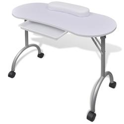 IKAYAA  Portable Nail Table  White Folding manicure table with wheels Salon Furniture