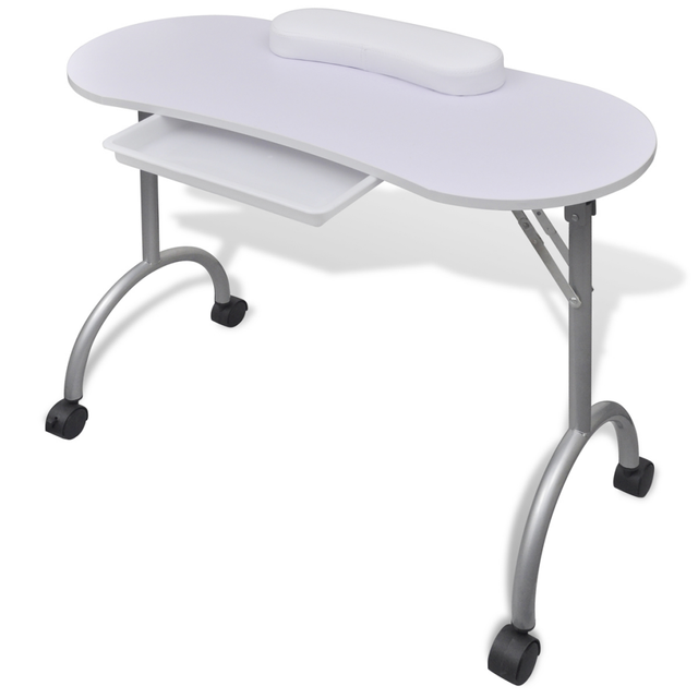 IKAYAA Portable Nail Table White Folding manicure table with wheels ...