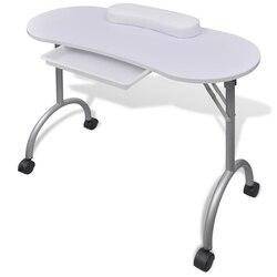 Ikayaa mesa portátil do prego branco dobrável manicure tabela com rodas salão de beleza móveis