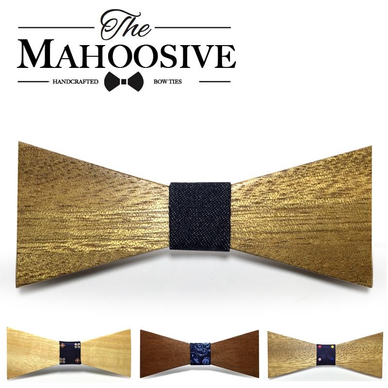 De madera para hombre Pajarita Mahoosive Marca de madera Classic Tie Bowtie Regalo para hombres Camisas de negocios Pajarita Corbata Accesorios