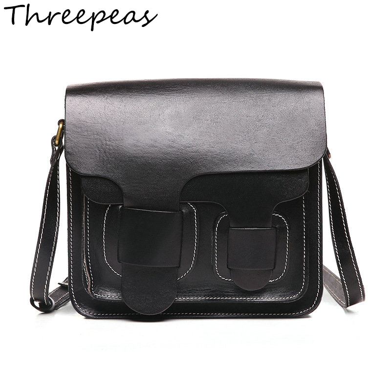 THREEPEAS Women Messenger Bags Genuine Leather Cowhide Women Crossbody Bags Shoulder Bag Handbags genuine leather fashion women handbags bucket tote crossbody bags embossing flowers cowhide lady messenger shoulder bags