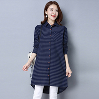 Women Shirts 2017 New Spring Cotton Linen Blouses Shirts Casual Loose Long Shirt Dress Plus Size