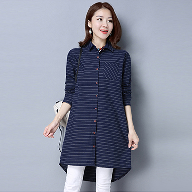 Women Shirts 2017 New Spring Cotton Linen Blouses Shirts Casual Loose Long Shirt Dress Plus Size Plaid Women Tops Ropa Mujer Рубашка