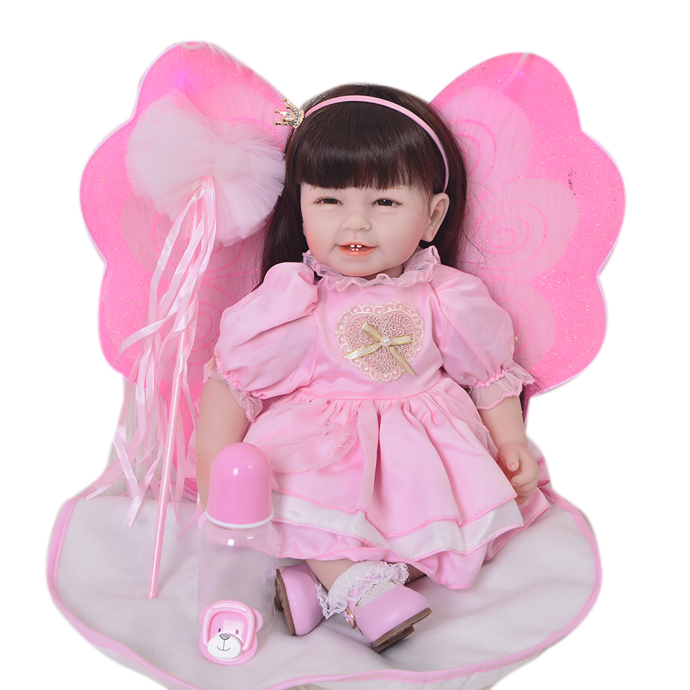 KEIUMI Realistic Newborn Baby Girl Doll 22 Inch Real Silicone Dolls Reborn Lifelike Finished Doll Collectible Baby Toy Xmas Gift new 22 inch dolls handmade realistic lifelike real touch npk silicone reborn baby dolls vinyl silicone newborn doll girl gift