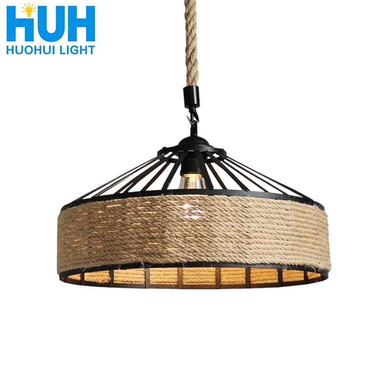 Vintage Hemp rope chandelier retro E27 Industrial Retro Lamp Base Loft Iron Lamp Bedroom Dining Room