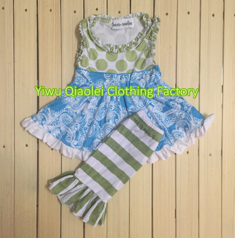 Wholesale high quality cute dress and capris summer boutique girl outfits high quality wholesale