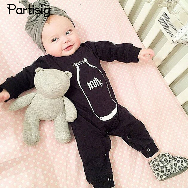 Brand Baby Romper Black Milk Bottle Jumpsuit Spring Letter Cotton Baby Boy Clothing Roupe De Bebe