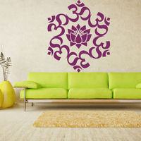 Wall Decal Hands Buddhism India Mandala Indian Positive Flower Om Yoga Lord